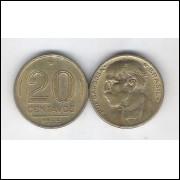 1956 - 20 Centavos, bronze-alumínio, mbc. Rui Barbosa.