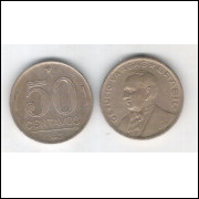1943 - 50 Centavos, níquel rosa, com sigla, mbc. Getúlio Vargas.