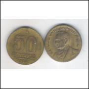 1944 - 50 Centavos, bronze-alumínio, sem sigla, mbc. Getúlio Vargas.