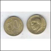 1956 - 50 Centavos, bronze-alumínio, FC. Presidente Dutra.