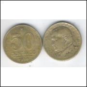 1956 - 50 Centavos, bronze-alumínio, mbc. Presidente Dutra.