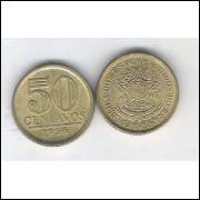 1956 - 50 Centavos,bronze-alumínio, mbc.