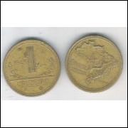 1943 -1 Cruzeiro, bronze-alumínio, mbc.