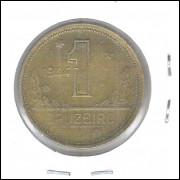 1944 -1 Cruzeiro, sem sigla, bronze-alumínio, mbc.