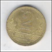 1943 -2 Cruzeiros, bronze-alumínio, com sigla, FC.