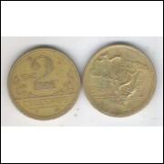 1943 -2 Cruzeiros, bronze-alumínio, com sigla, mbc.