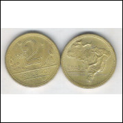 1950 -2 Cruzeiros, bronze-alumínio, FC.
