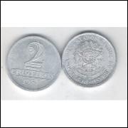 1957 -2 Cruzeiros, alumínio, mbc.