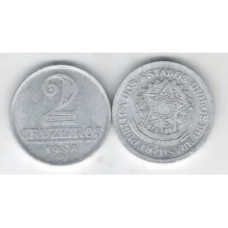 1958 -2 Cruzeiros, alumínio, FC.