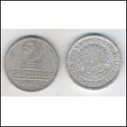 1958 -2 Cruzeiros, alumínio, mbc.