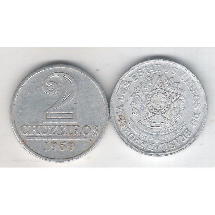 1959 -2 Cruzeiros, alumínio, mbc.