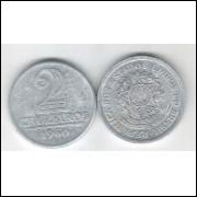1960 -2 Cruzeiros, alumínio, FC.