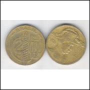 1938 - Brasil,2000 Réis, Caxias, poligonal, bronze-alumínio, mbc.