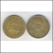 1939 - Brasil,2000 Réis, bronze-alumínio, mbc. Floriano Peixoto.
