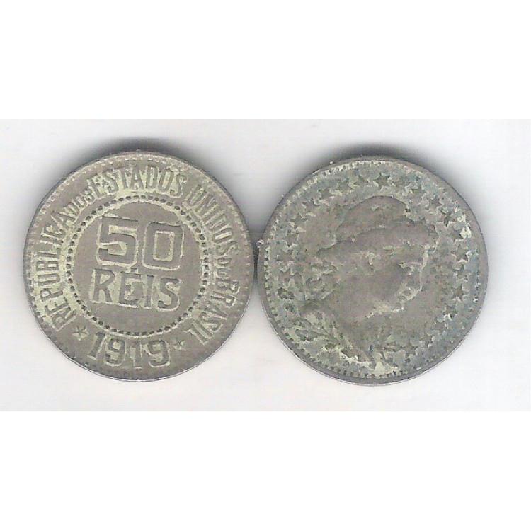 1919 - Brasil,  50 Réis, cuproníquel, bc/mbc.