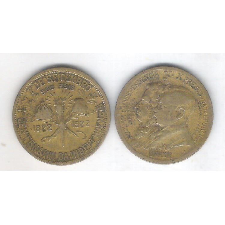1922 -  500 Réis, bronze alumínio, bc/mbc, Comemorativa do Centenário da Independência.