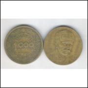 1939 - Brasil,1000 Réis, bronze-alumínio, mbc. Tobias Barreto