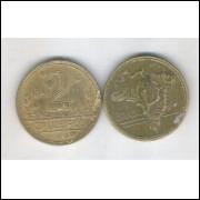 1951 -2 Cruzeiros, bronze-alumínio, mbc.
