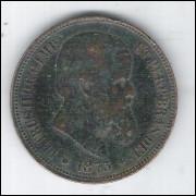 1873 - 40 Réis, bronze, mbc, Brasil-Império, D. Pedro II.