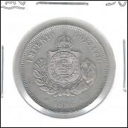 1886 - Brasil-Império, Dom Pedro II, 50 Réis, cuproníquel, FC.