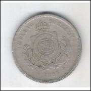 1887 - Brasil-Império, Dom Pedro II, 100 Réis, cuproníquel, bc/mbc.