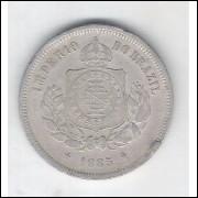 1885 - Brasil-Império, Dom Pedro II, 100 Réis, cuproníquel, mbc.