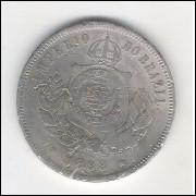 1888 - Brasil-Império, Dom Pedro II, 200 Réis, cuproníquel, bc.
