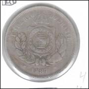 1887 - Brasil-Império, Dom Pedro II, 200 Réis, cuproníquel, mbc.