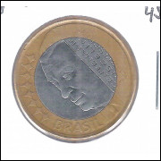 2002 -1 Real, mbc, bimetálica, REVERSO INCLINADO 45o. Comemorativa - Juscelino Kubitschek.