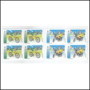 1994 - C-1885/6q - Série em Quadras, UPAE, Veículos postais, bicicleta, motocicleta.