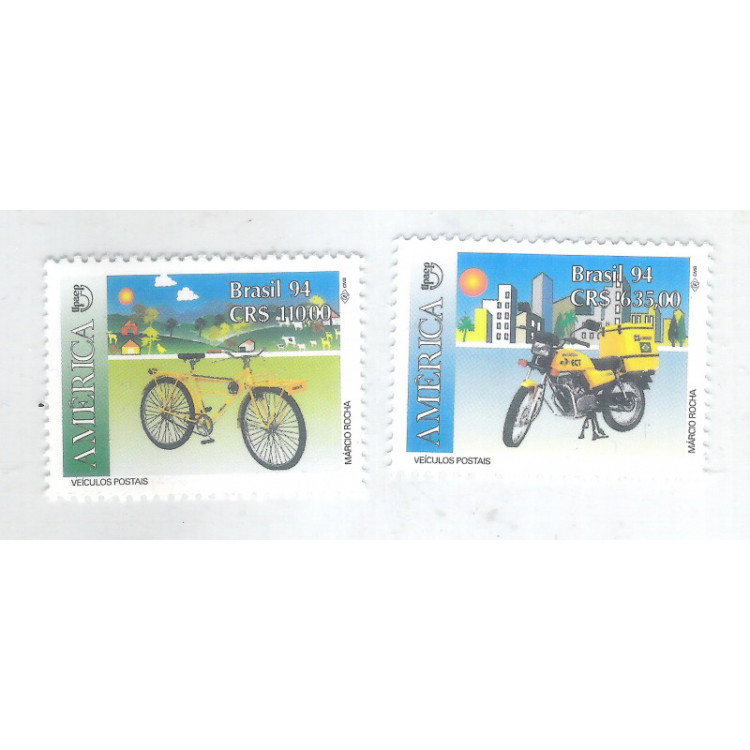 1994 - C-1885/6 - Série UPAE, Veículos postais, bicicleta, motocicleta.