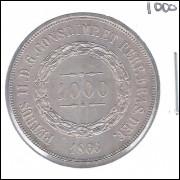 1866 - 1000 Réis, prata, FC, Brasil-Império, Dom Pedro II.