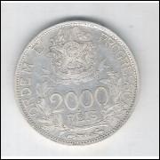 1913 - 2000 Réis, estrelas ligadas, prata, soberba, Brasil-República.