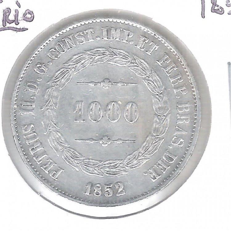 1852 - 1000 Réis, prata, S/FC , Brasil-Império, Dom Pedro II.
