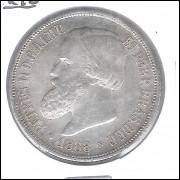 1888 - 1000 Réis, prata, mbc , Brasil-Império, Dom Pedro II.