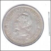 1908 - 500 Réis, prata, mbc, Brasil-República.