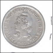 1907 - 500 Réis, prata, mbc, Brasil-República.