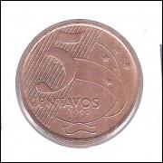1999 -  5 Centavos, mbc/s, aço revestido de cobre.