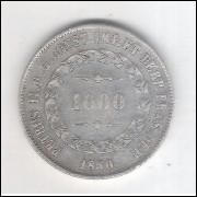 1850 - 1000 Réis, prata, mbc , Brasil-Império, Dom Pedro II.