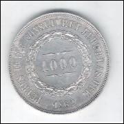 1862 - 1000 Réis, prata, S/FC , Brasil-Império, Dom Pedro II.