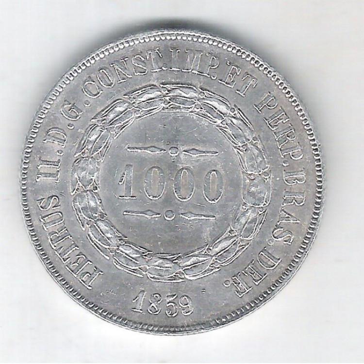 1859 - 1000 Réis, prata, Soberba , Brasil-Império, Dom Pedro II.