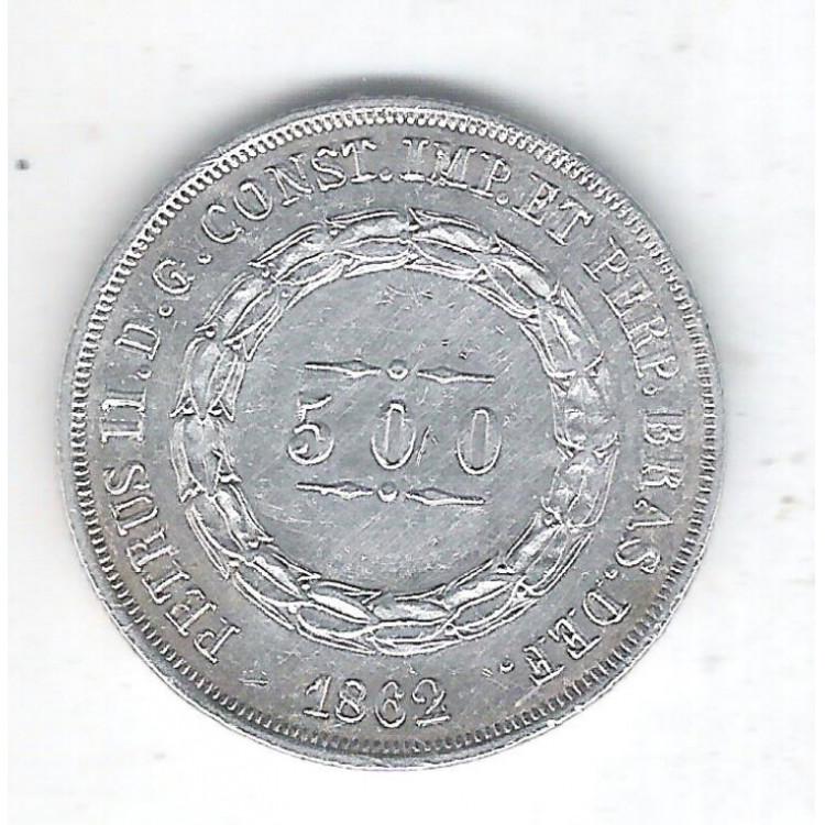 1862 - 500 Réis, prata, soberba, Brasil-Império, Dom Pedro II.