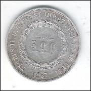 1857 - 500 Réis, prata, mbc, Brasil-Império, Dom Pedro II.