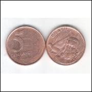 2000 -  5 Centavos, mbc/s, aço revestido de cobre.