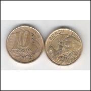 2000 - 10 Centavos, soberba, aço revestido de cobre.