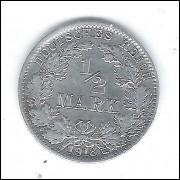Alemanha (Império), 1/2 Mark 1918 J, prata.900.