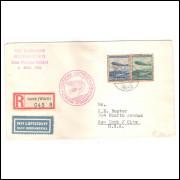 Alemanha (3o Reich) Envelope circulado, dirigível Hindenburg (maior Zeppelin),para os Estados Unidos