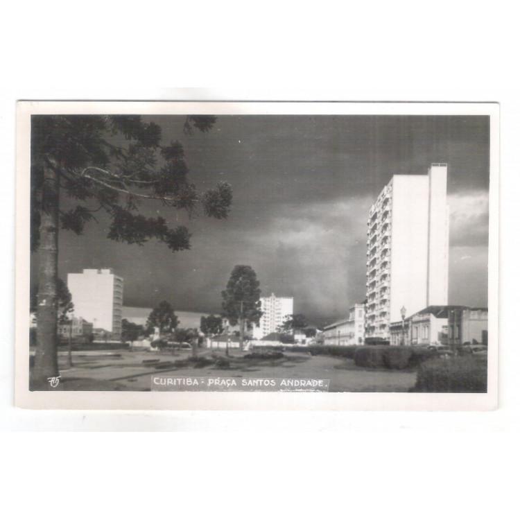 Foto Postal antiga- Curitiba - Praça Santos Andrade.