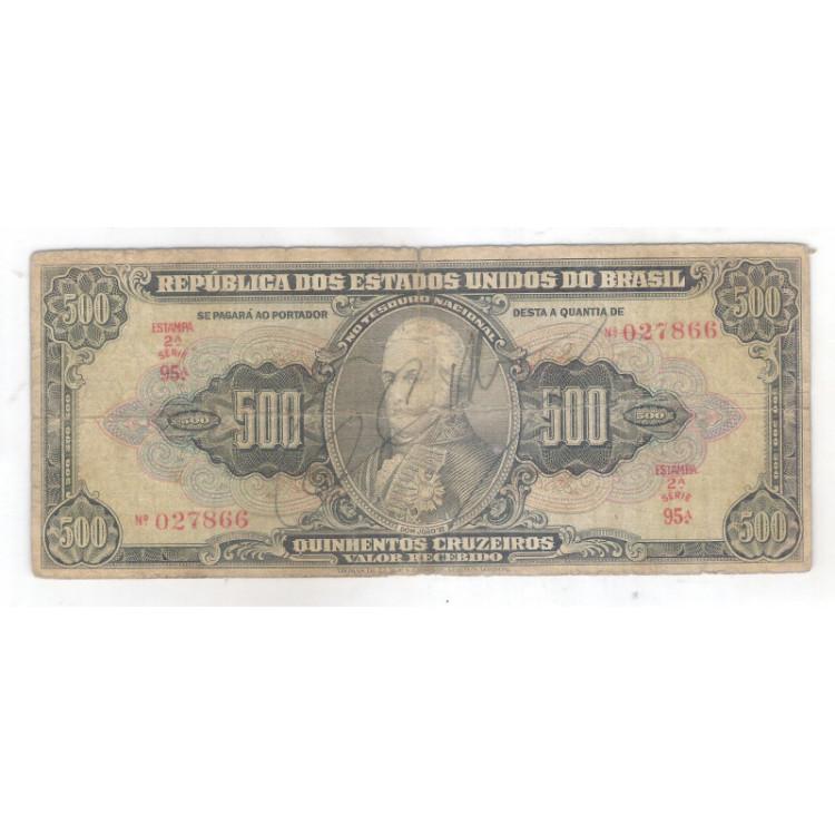 C099 - 500 Cruzeiros, 1948, estampa 2a, Autografada, Valor Recebido, Série 95, bc/mbc.