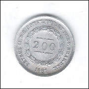 1861 - 200 Réis, prata, S/FC , Brasil-Império, Dom Pedro II.